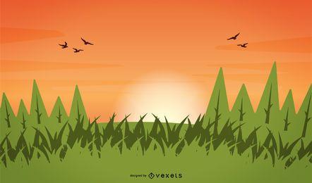 Árvores de grama de vetor Céu do sol