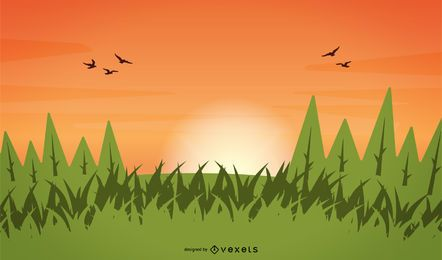 Vektor-Gras-Baum-Sonnenuntergang-Himmel