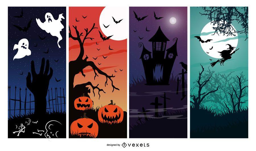 Conjunto de 4 banners de halloween.