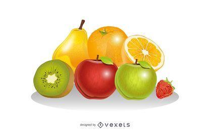 Vector de composición de frutas