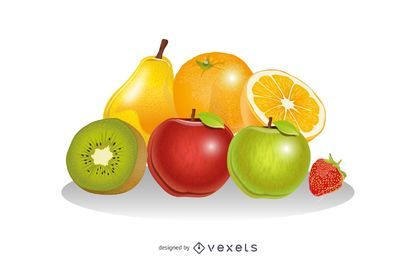 Vector de composicion de frutas