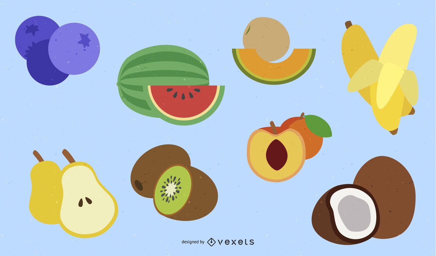 Flat fruits illustration set