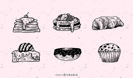 Breakfast pastries illustration set