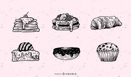 Fastfood-Frühstücks-Gebäck-Vektor