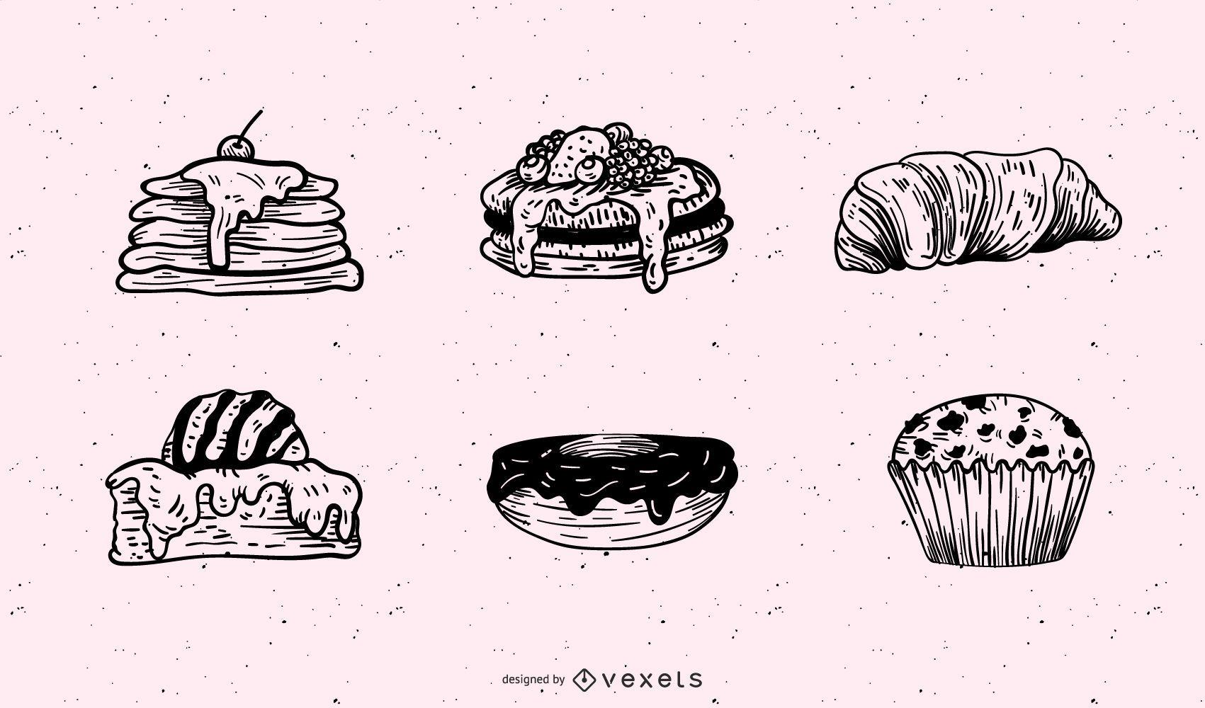 Breakfast pastries illustration set
