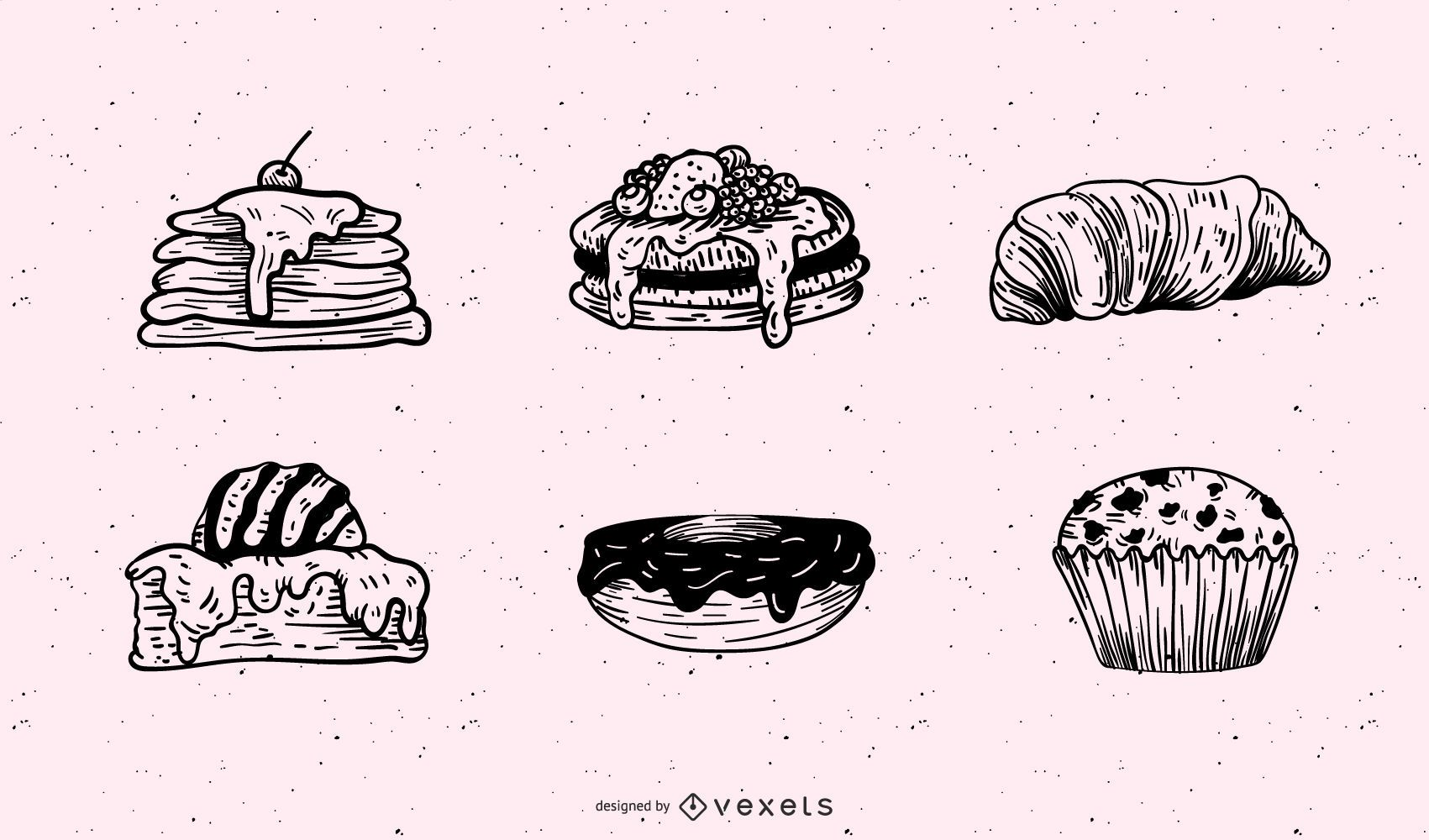 Conjunto de ilustración de pasteles de desayuno