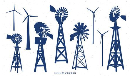 Vector silueta de turbina eólica