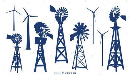 Vector Wind Turbine Silhouette