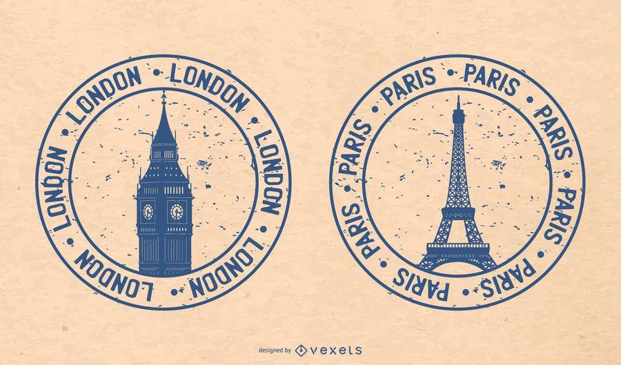 Londres e Paris, um símbolo de selos 02 Vector
