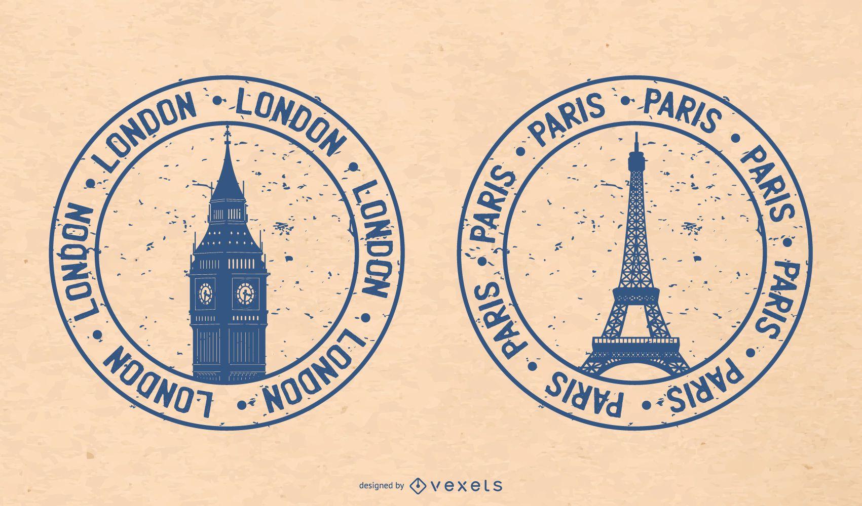 London and Paris Grunge Badge Set