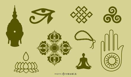 Símbolos budistas tibetanos e figura de objetos de doze objetos portáteis para identificação e vetor de etiqueta