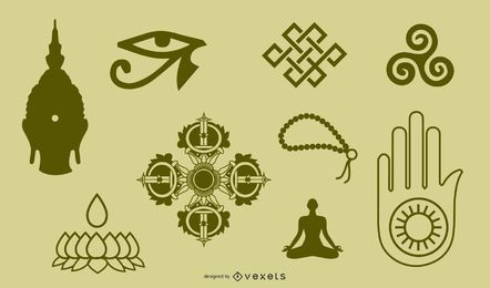 Tibetische buddhistische Symbole und Objekte Figur von zwölf Handheld-Objekten zur Identifikation und Etikette Vektor