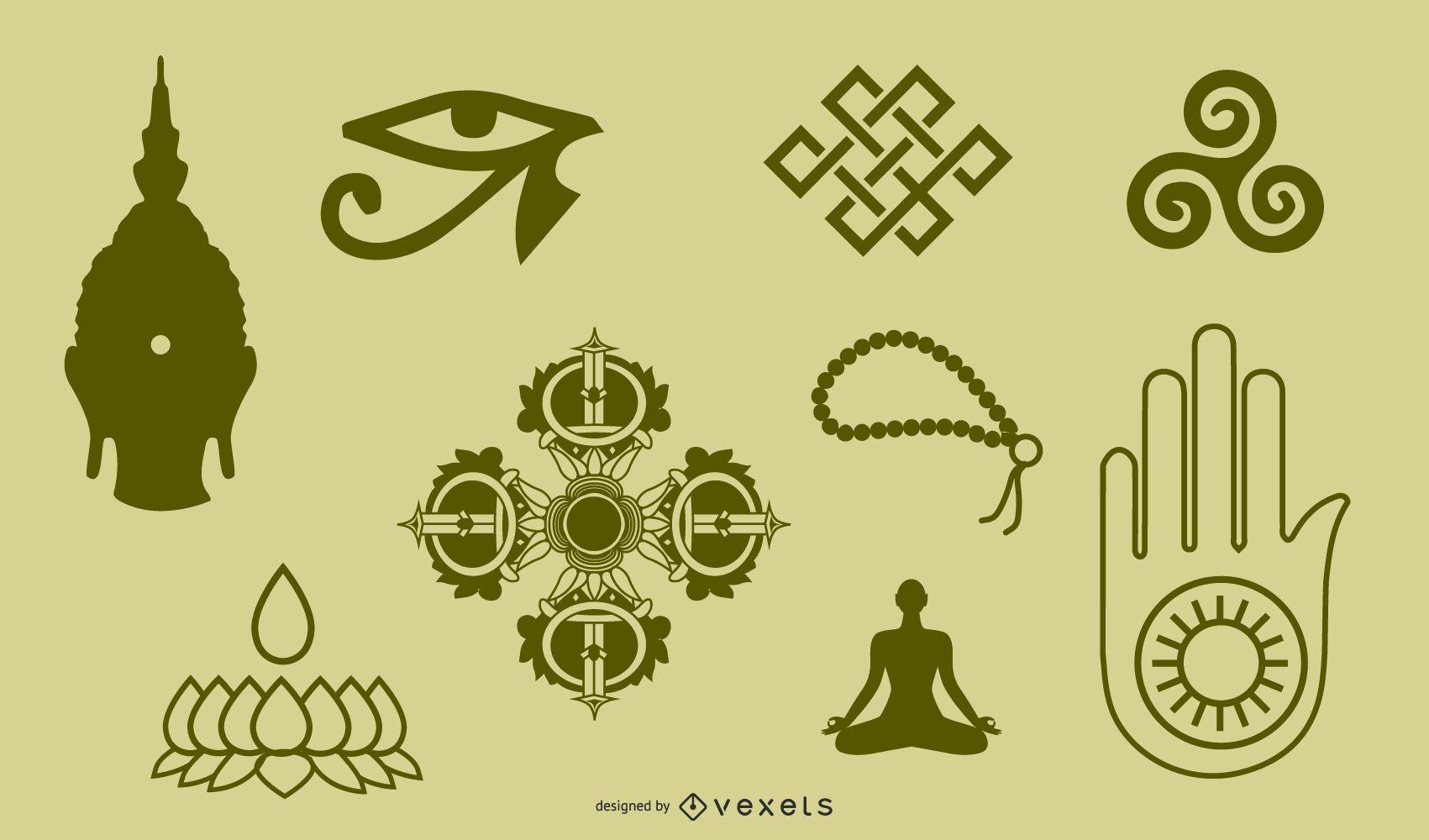 Símbolos e objetos do budismo tibetano Figura de doze objetos portáteis para identificação e etiqueta vetorial