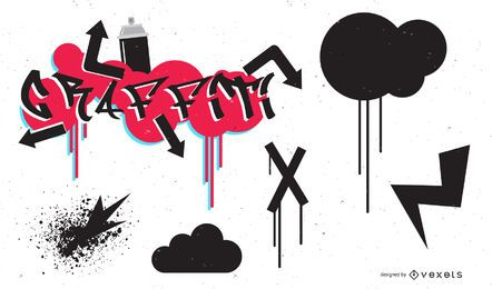 Go Media Produced Vector Set (tendencia de graffiti)
