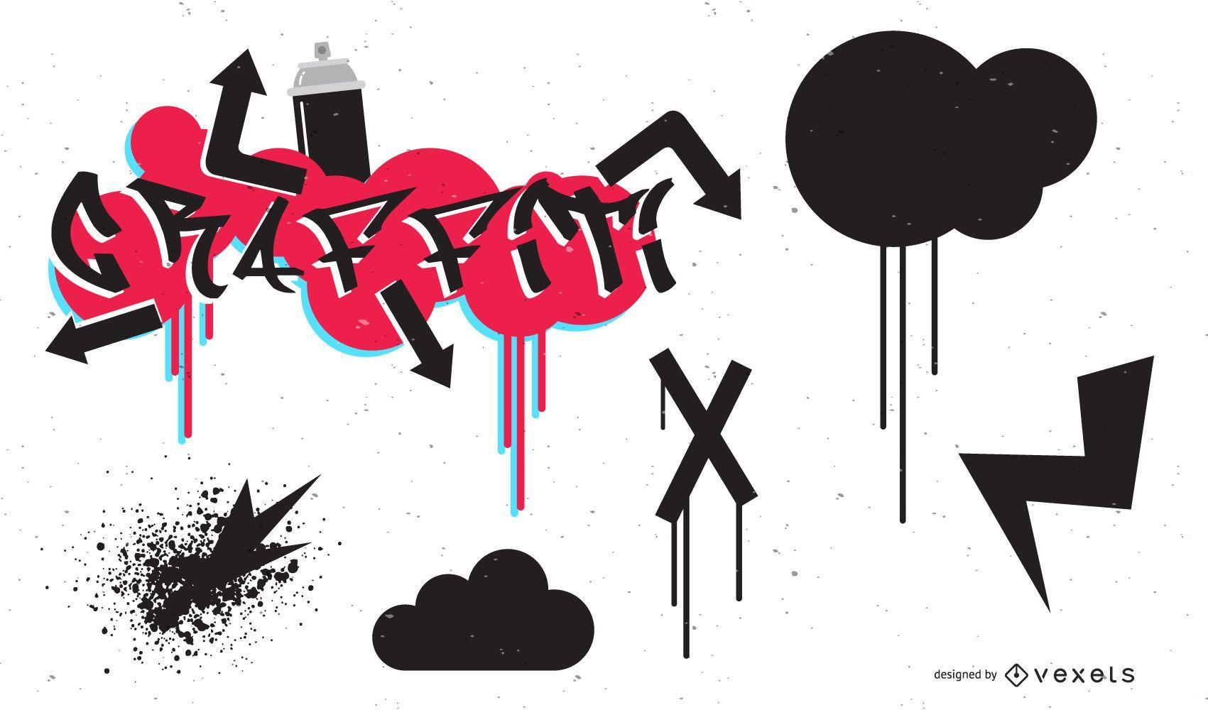 Conjunto de vetores produzidos pela Go Media15 tendência de grafite