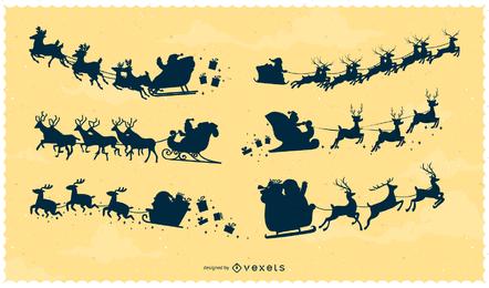 Vector Papai Noel voando no ar