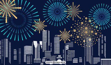 fireworks city illustration design