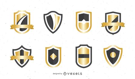 Vetor de emblema de escudo dourado