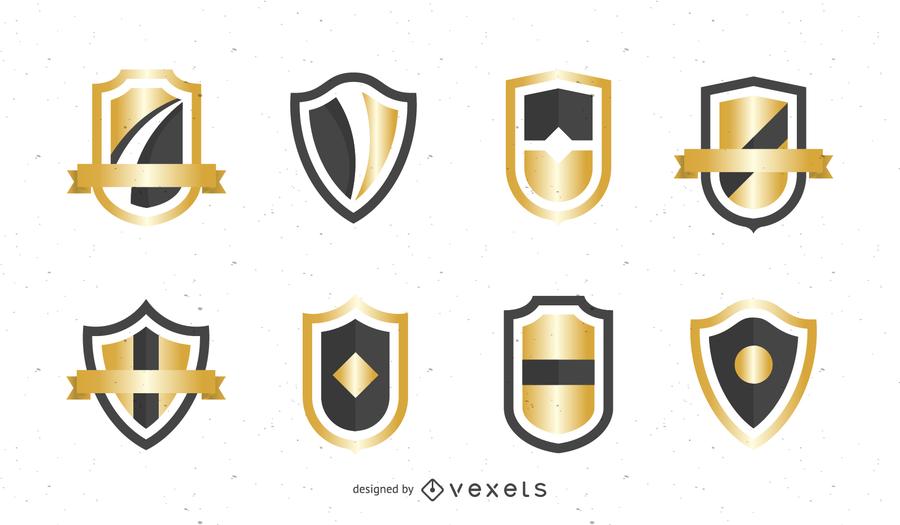 Gold Shield Badge Vector