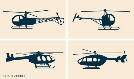 Silhuetas de helicóptero Vector Pack