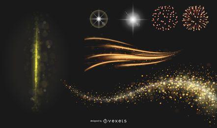 Lindo brilhante efeitos de iluminação 02 Vector
