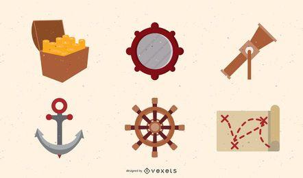 Conjunto de vectores de tesoro pirata