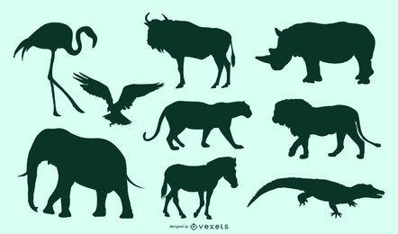Afrikanische Tiere eingestellt