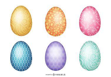6 lindos huevos de Pascua ornamentales
