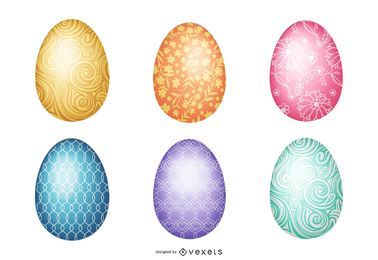 Shiny easter egg illustration set