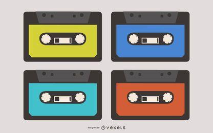 Colección de vectores de casetes de audio
