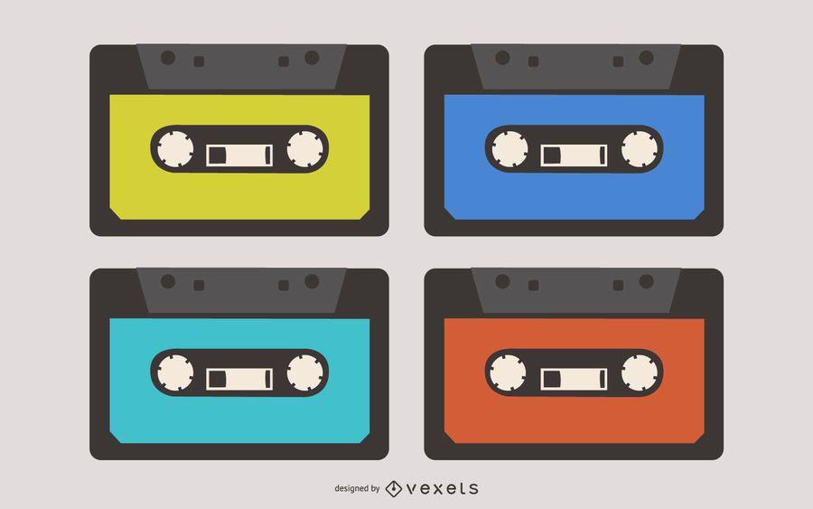 Retro Cassette Tapes Set