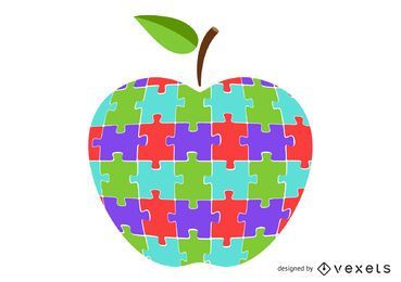 Colorful apple puzzle illustration design