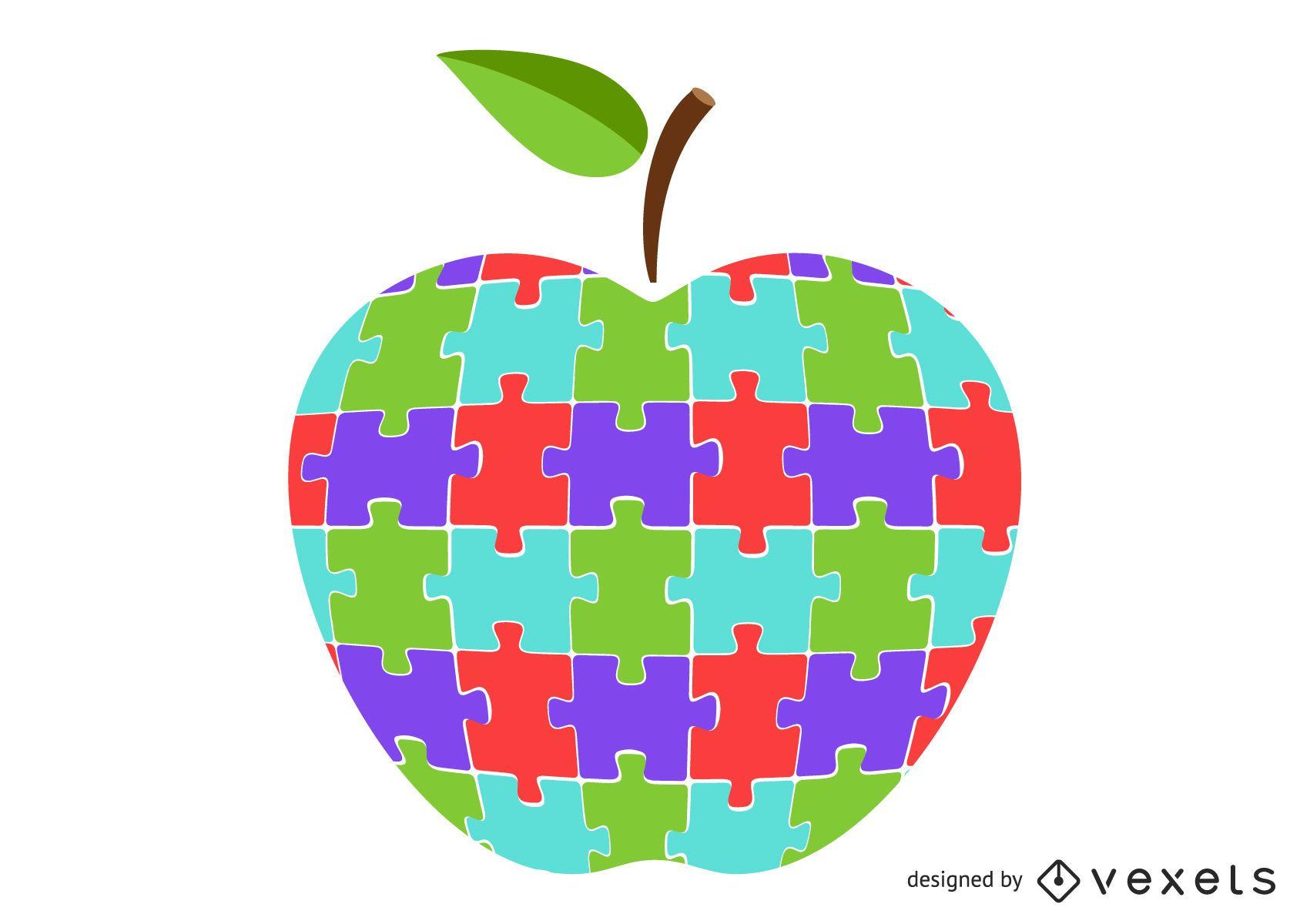 Colorful apple puzzle illustration design