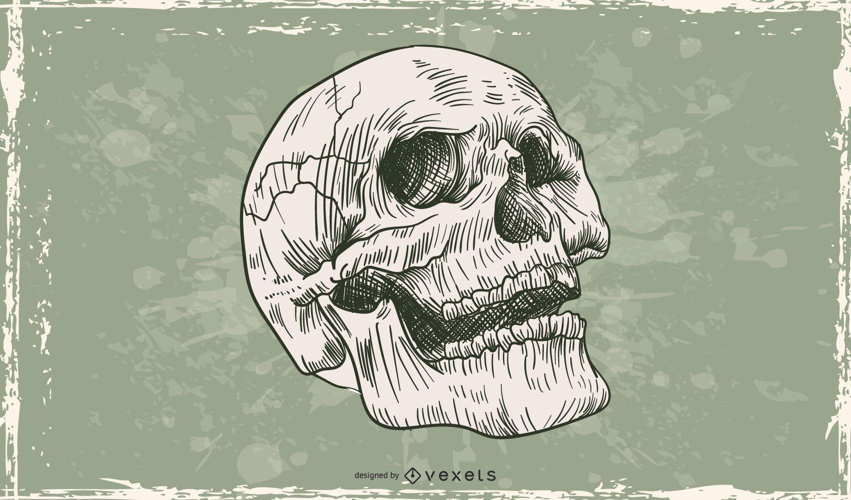 Hand drawn skull illustration design