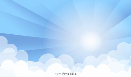 Sun Burst With Rays Forma Nuvens Vetor