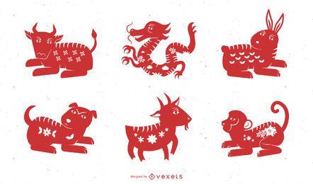 Vector tradicional chino de diez animales papercut
