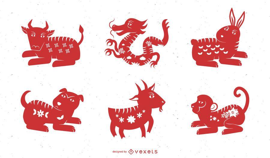 Vector tradicional chinesa de dez animais Papercut