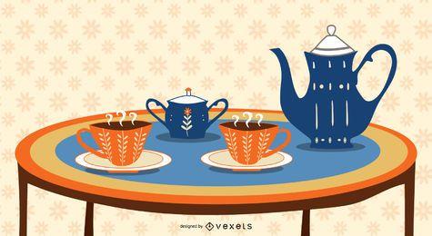 Taza de bebida caliente, café o té, ilustración vectorial