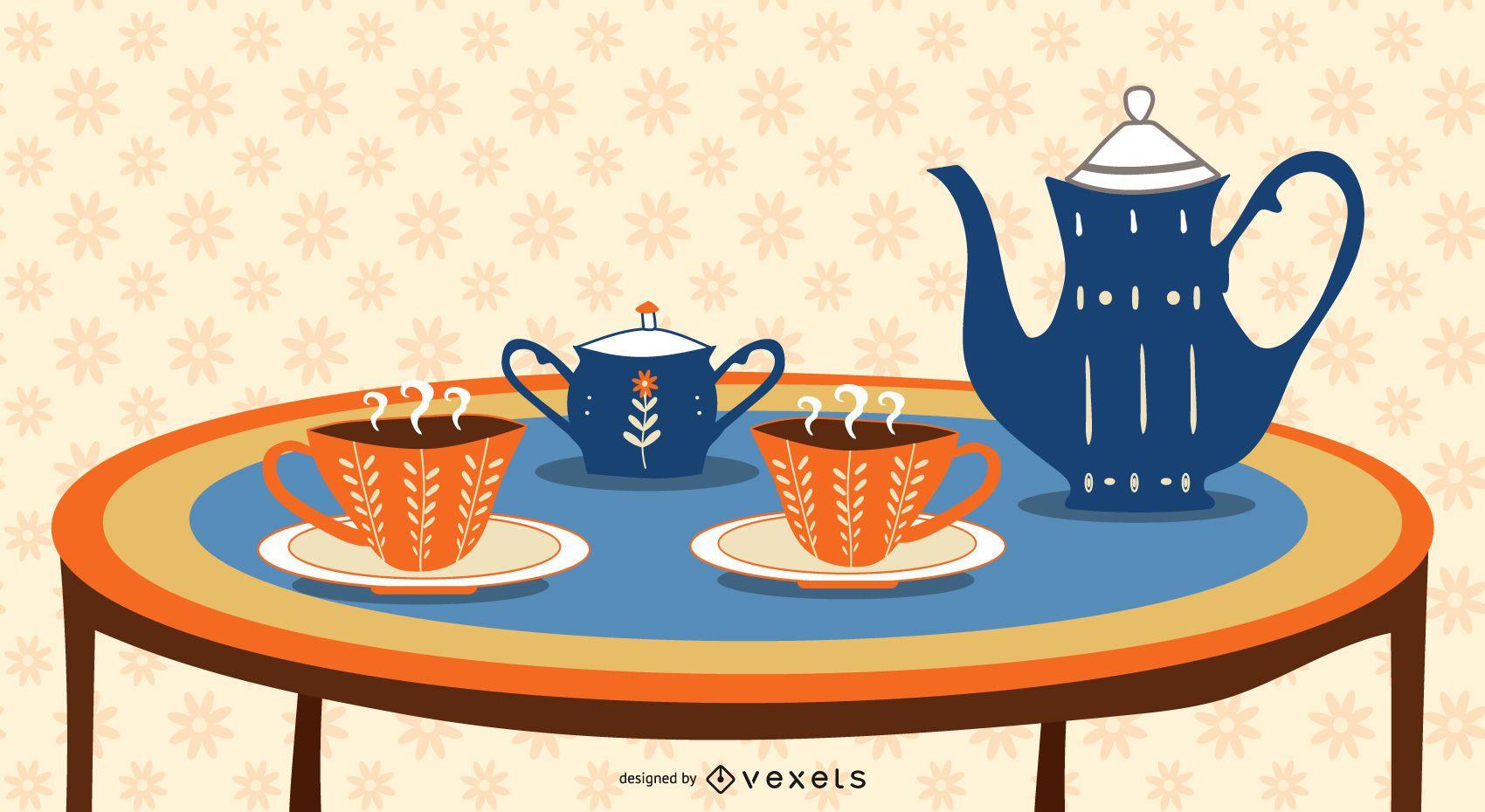 desenho de ilustração de jogo de chá