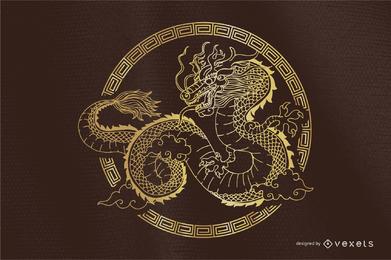 Clásico redondo del dragón del vector