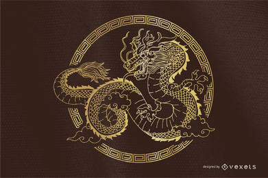 Vector de dragón clásico redondo
