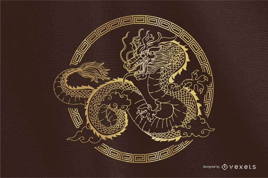 Dragón clásico Vector redondo