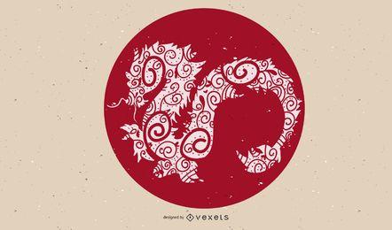 Dragón rojo ilustrado en un círculo.