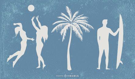 Vector de elementos de tendencia de verano
