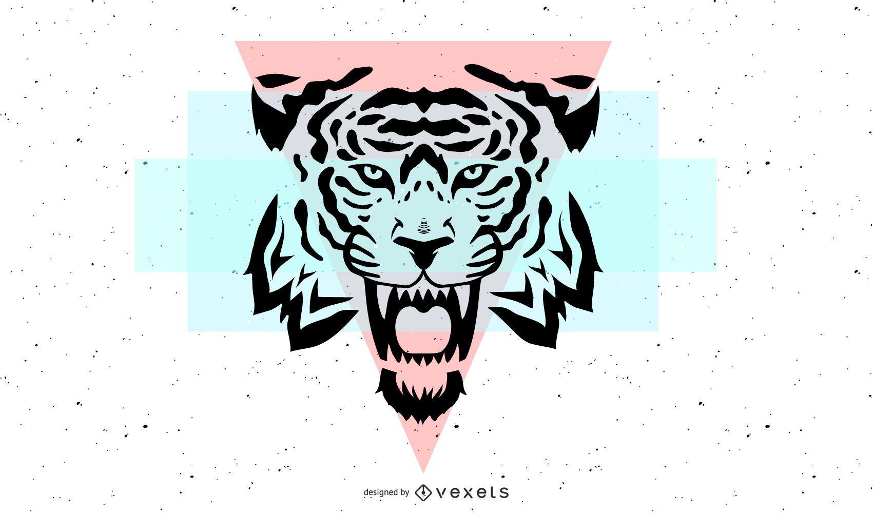 Cabeza de tigre con formas geométricas