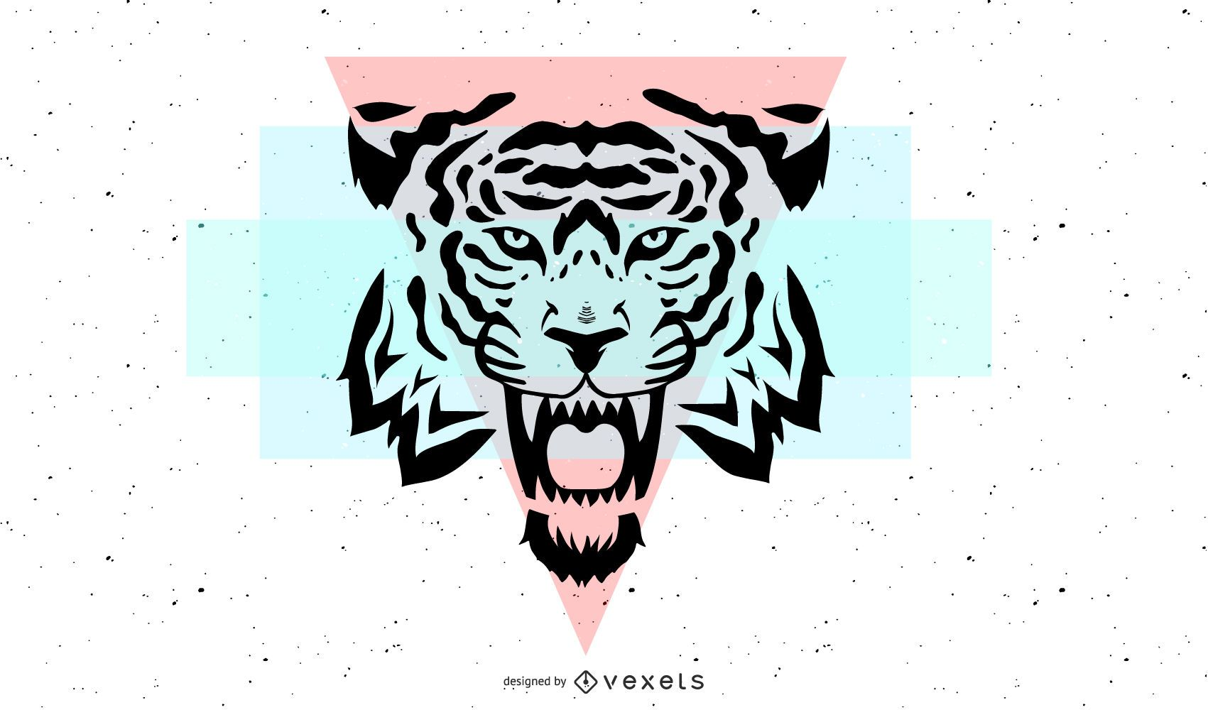 Tiger Head with geometric shapes