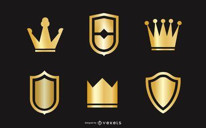 Vector de corona y escudo de oro