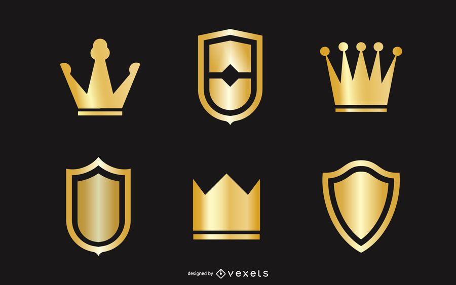 Gold Crown And Shield Vector