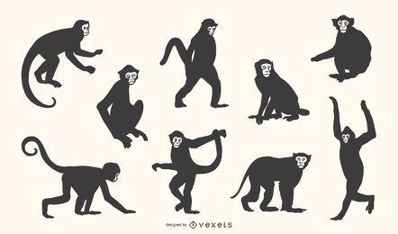 Conjunto de silueta de mono capuchino
