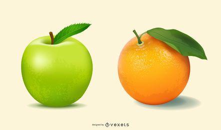 Ilustraciones de frutas 3D realistas.
